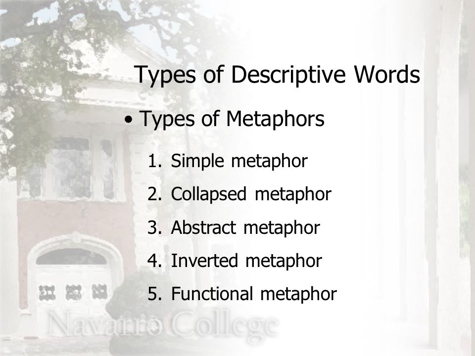 1.Simple metaphor 2.Collapsed metaphor 3.Abstract metaphor 4.Inverted metaphor 5.Functional metaphor Types of Descriptive Words Types of Metaphors