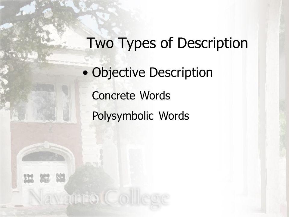 Concrete Words Polysymbolic Words Two Types of Description Objective Description