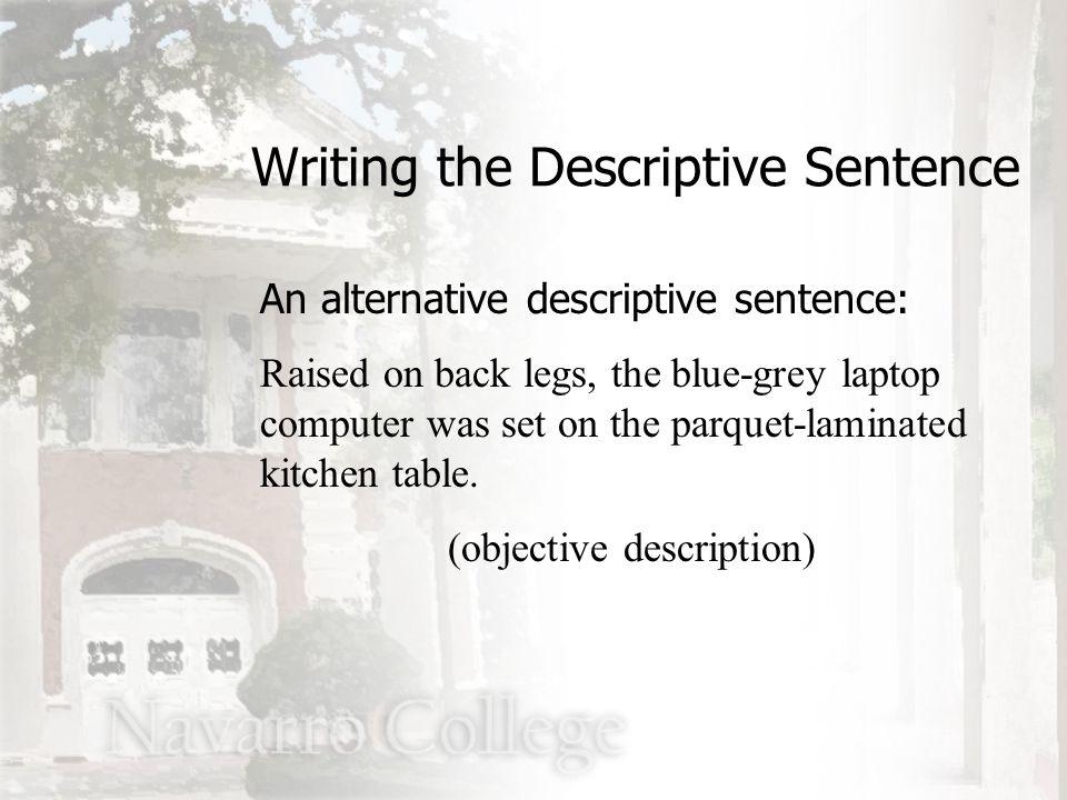 An alternative descriptive sentence: Raised on back legs, the blue-grey laptop computer was set on the parquet-laminated kitchen table.