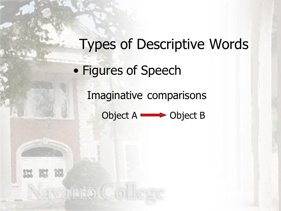 Imaginative comparisons Object A Types of Descriptive Words Figures of Speech Object B