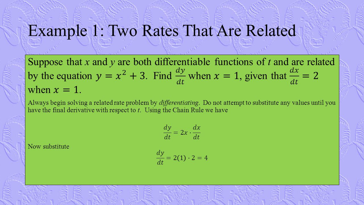 Example 1: Two Rates That Are Related