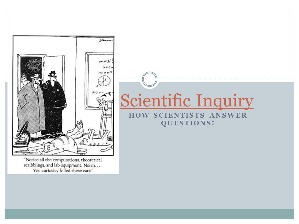 HOW SCIENTISTS ANSWER QUESTIONS! Scientific Inquiry