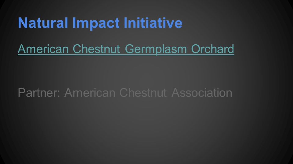 Natural Impact Initiative American Chestnut Germplasm Orchard Partner: American Chestnut Association