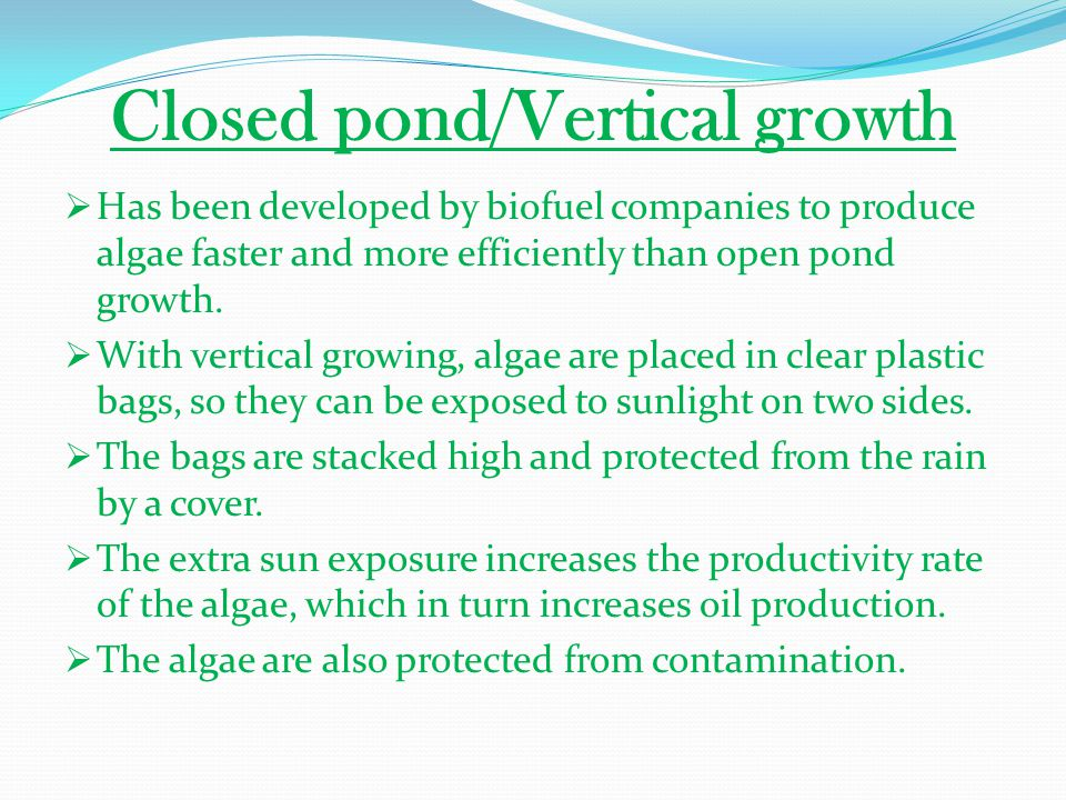Closed pond/Vertical growth  Has been developed by biofuel companies to produce algae faster and more efficiently than open pond growth.  With verti