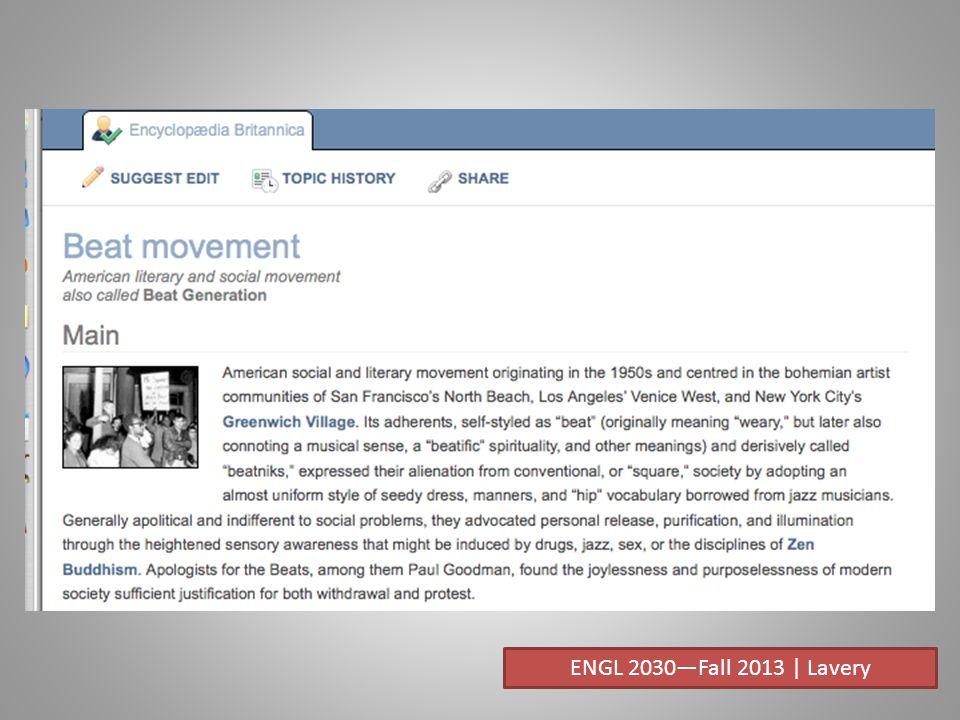 ENGL 2030—Fall 2013 | Lavery