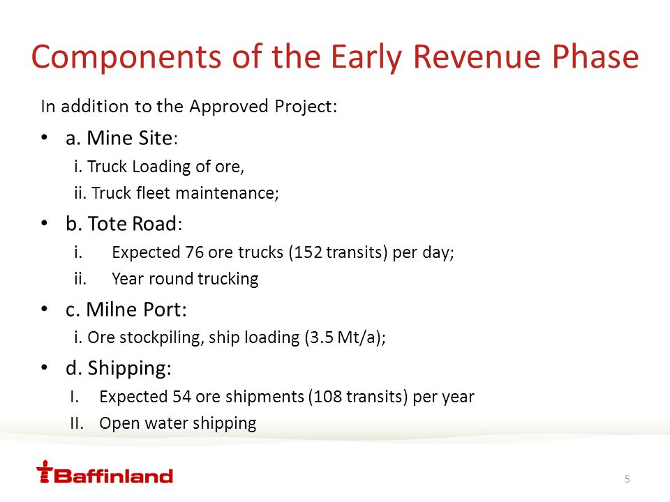Components of the Early Revenue Phase 5 In addition to the Approved Project: a.