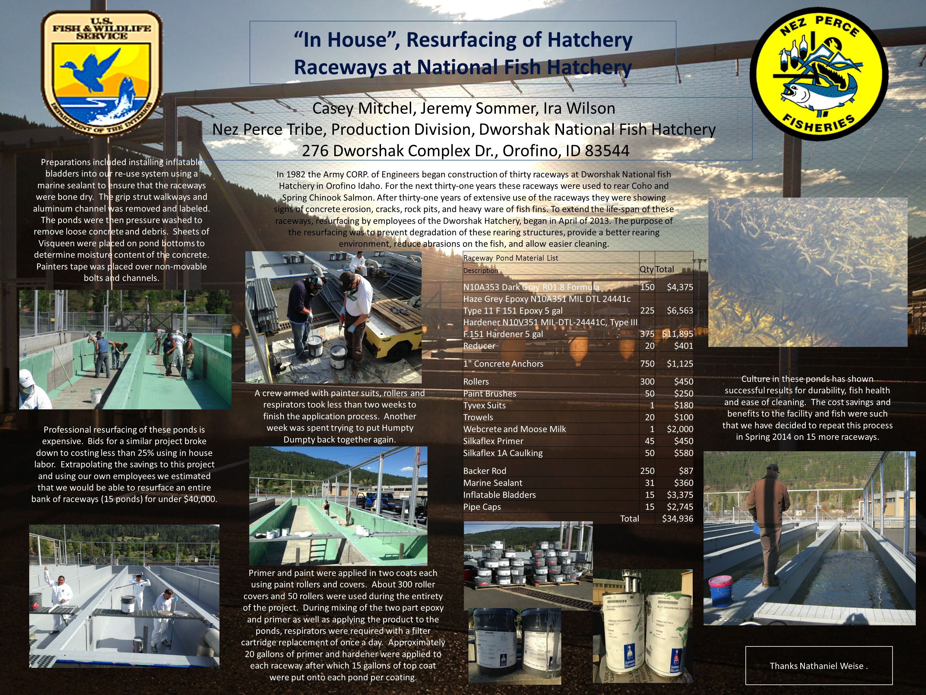 In House , Resurfacing of Hatchery Raceways at National Fish Hatchery Casey Mitchel, Jeremy Sommer, Ira Wilson Nez Perce Tribe, Production Division, Dworshak National Fish Hatchery 276 Dworshak Complex Dr., Orofino, ID 83544 Raceway Pond Material List Description QtyTotal N10A353 Dark Gray R01.8 Formula150$4,375 Haze Grey Epoxy N10A351 MIL DTL 24441c Type 11 F 151 Epoxy 5 gal225$6,563 Hardener N10V351 MIL-DTL-24441C, Type III F.151 Hardener 5 gal375$11,895 Reducer20$401 1 Concrete Anchors750$1,125 Rollers300$450 Paint Brushes50$250 Tyvex Suits1$180 Trowels20$100 Webcrete and Moose Milk1$2,000 Silkaflex Primer45$450 Silkaflex 1A Caulking50$580 Backer Rod250$87 Marine Sealant31$360 Inflatable Bladders15$3,375 Pipe Caps15$2,745 Total$34,936 In 1982 the Army CORP.