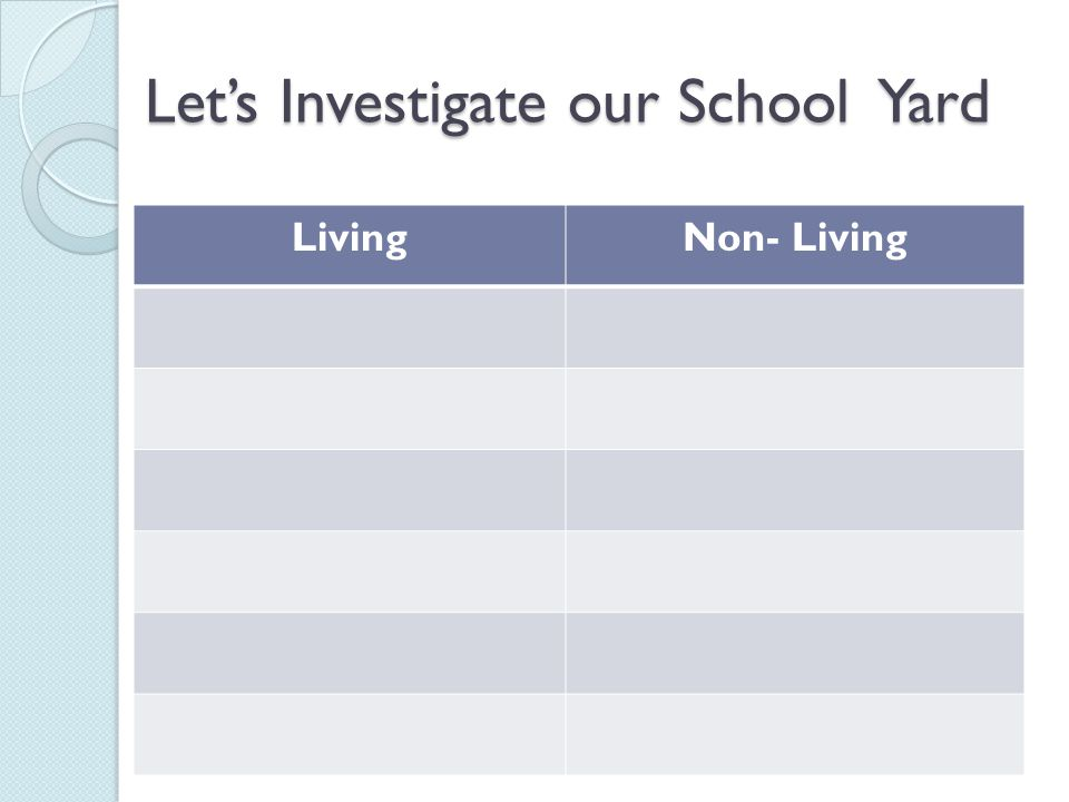 Let's Investigate our School Yard LivingNon- Living