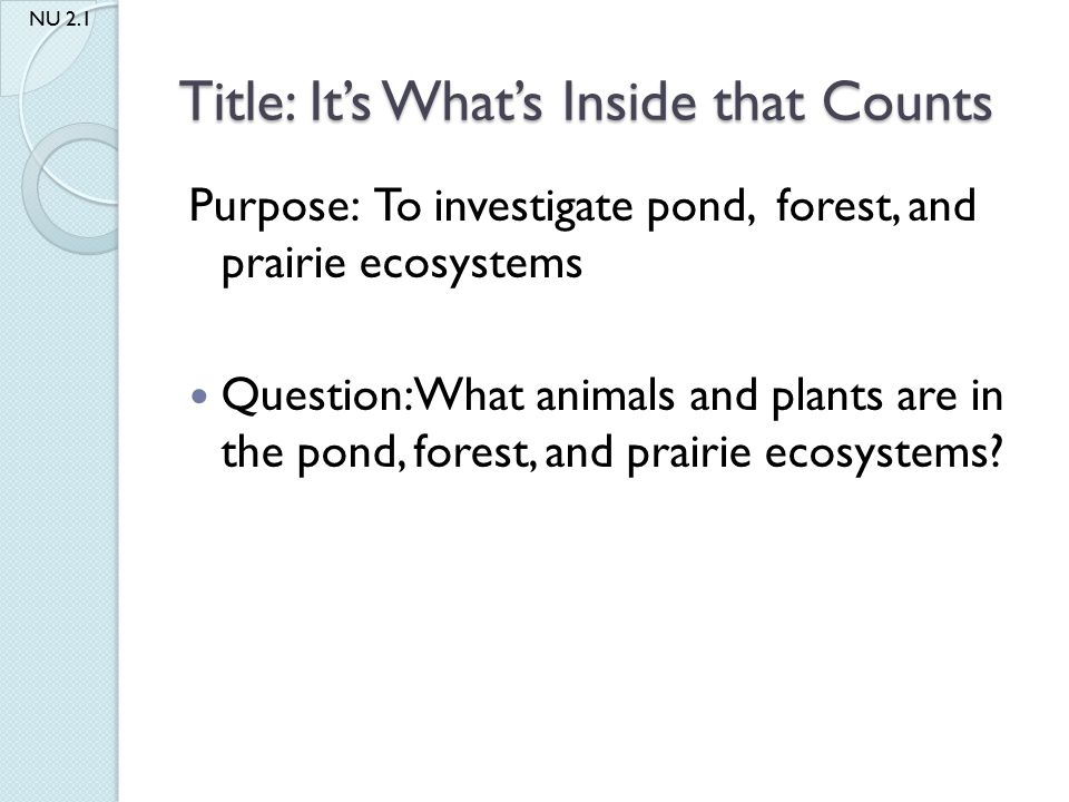Title: It's What's Inside that Counts Purpose: To investigate pond, forest, and prairie ecosystems Question: What animals and plants are in the pond,