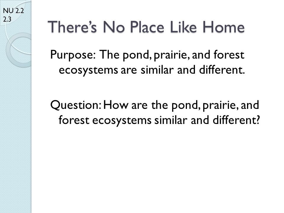 There's No Place Like Home Purpose: The pond, prairie, and forest ecosystems are similar and different.