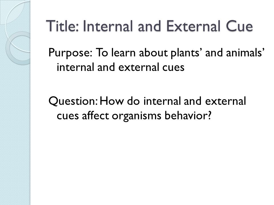 Title: Internal and External Cue Purpose: To learn about plants' and animals' internal and external cues Question: How do internal and external cues affect organisms behavior?