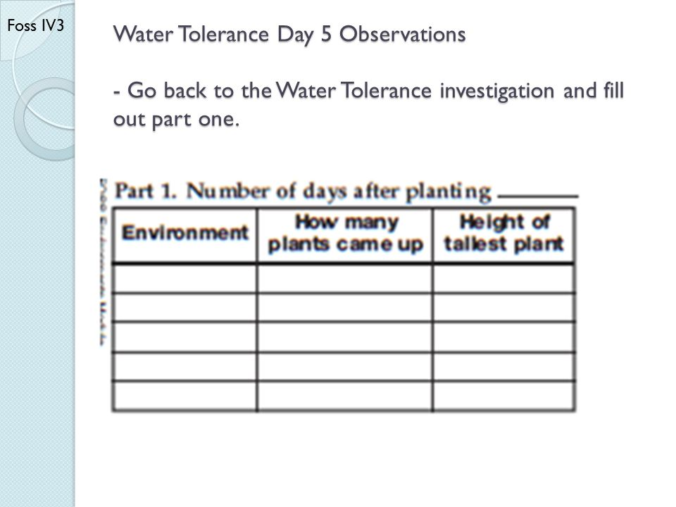 Water Tolerance Day 5 Observations - Go back to the Water Tolerance investigation and fill out part one. Foss IV3