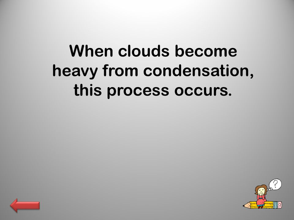 When clouds become heavy from condensation, this process occurs.