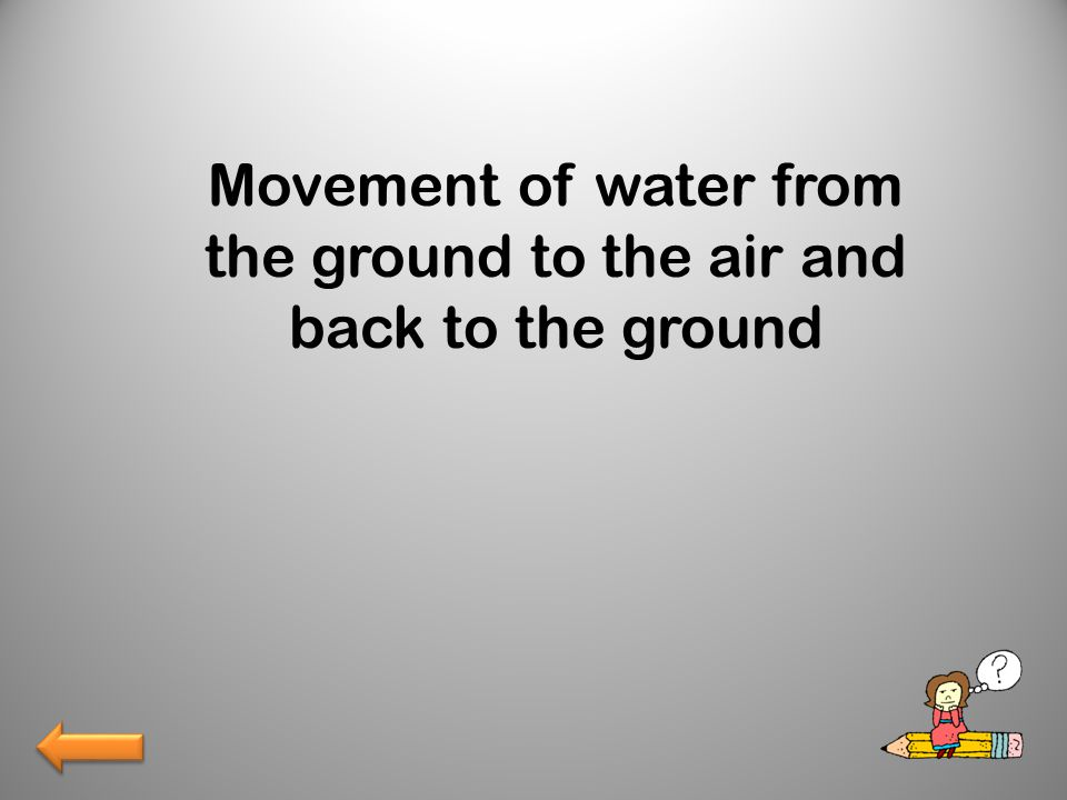 Movement of water from the ground to the air and back to the ground