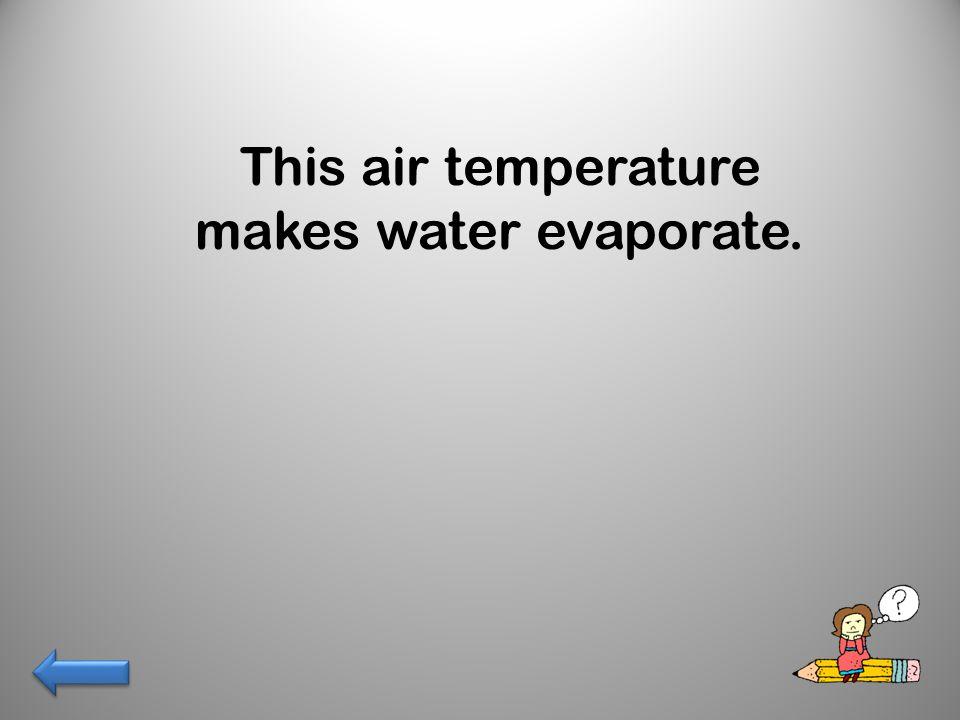 This air temperature makes water evaporate.