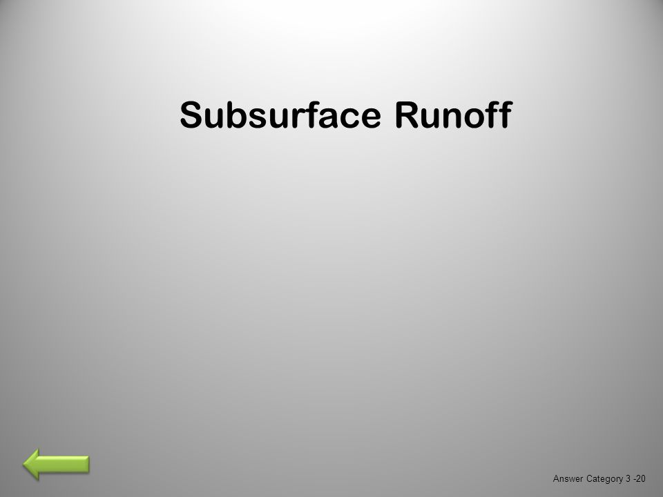 Subsurface Runoff Answer Category 3 -20