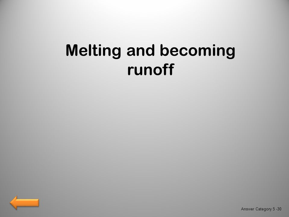 Melting and becoming runoff Answer Category 5 -30