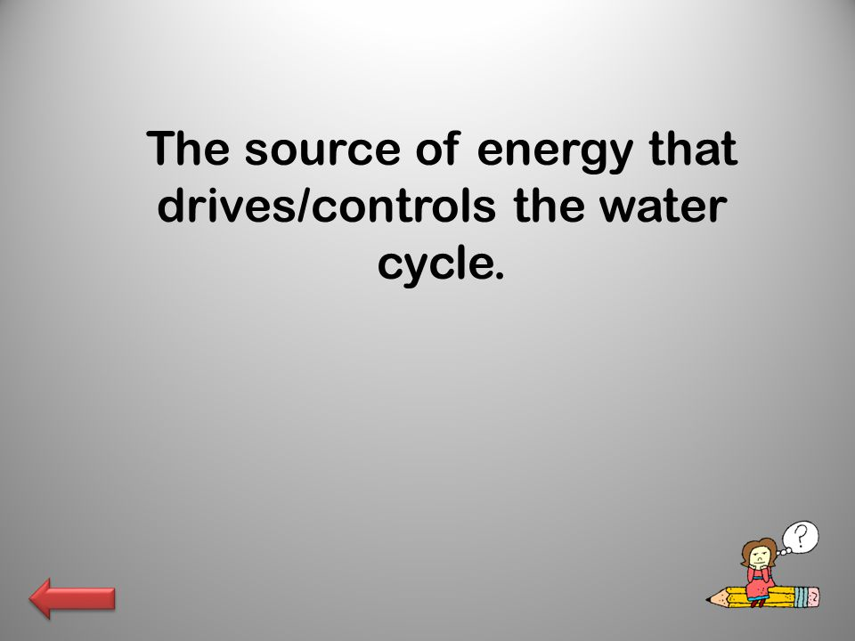 The source of energy that drives/controls the water cycle.