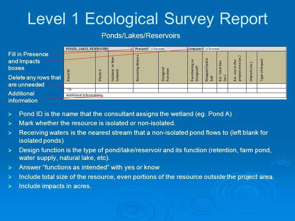 Level 1 Ecological Survey Report   Pond ID is the name that the consultant assigns the wetland (eg.