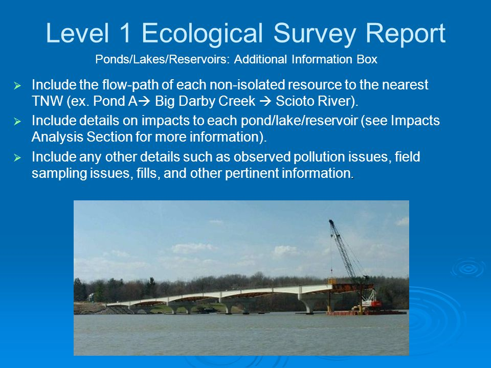 Level 1 Ecological Survey Report   Include the flow-path of each non-isolated resource to the nearest TNW (ex.