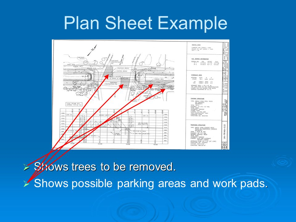 Plan Sheet Example  Shows trees to be removed. .  Shows possible parking areas and work pads.