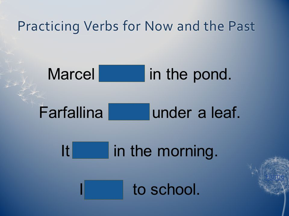 Home Practicing Verbs for Now and the PastPracticing Verbs for Now and the Past Marcel swims in the pond. Farfallina hides under a leaf. It rains in t