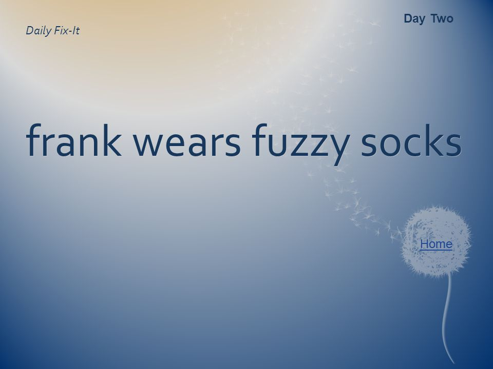 Daily Fix-It frank wears fuzzy socks Day Two Home