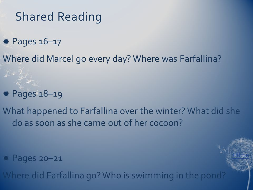 Home Shared ReadingShared Reading  Pages 16–17 Where did Marcel go every day.