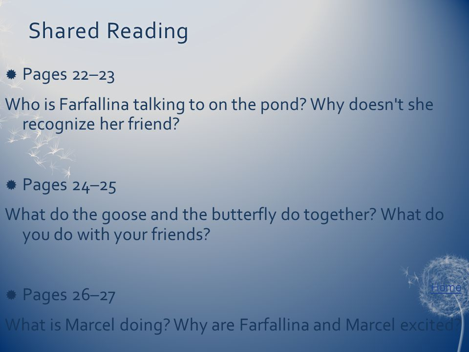 Home Shared ReadingShared Reading  Pages 22–23 Who is Farfallina talking to on the pond.