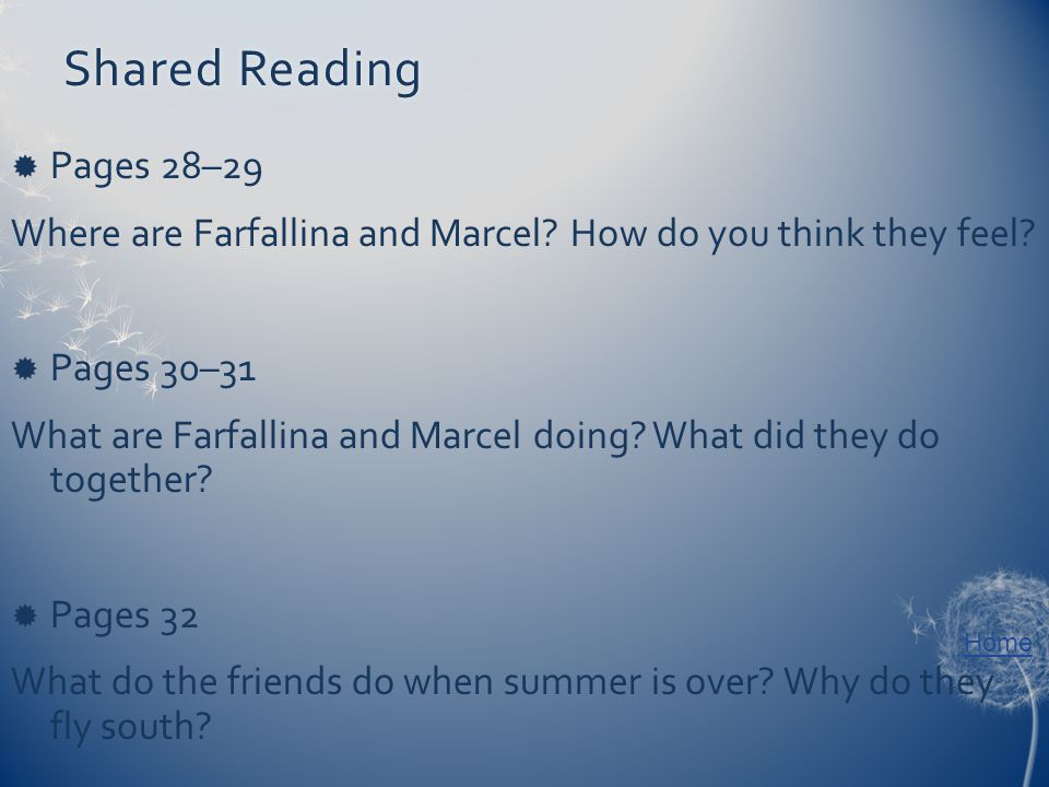 Home Shared ReadingShared Reading  Pages 28–29 Where are Farfallina and Marcel.
