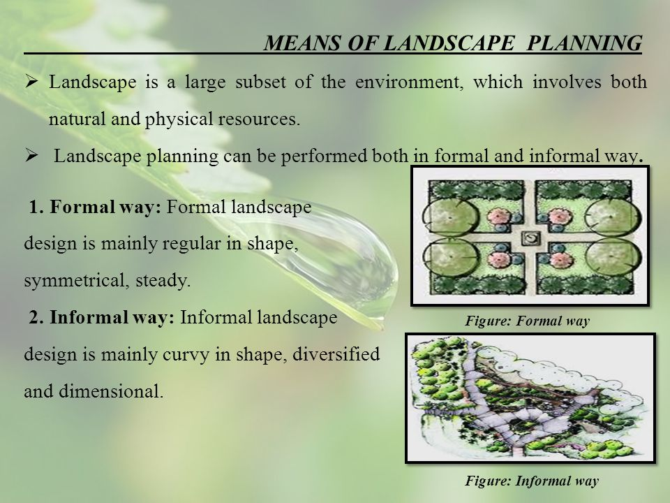 MEANS OF LANDSCAPE PLANNING  Landscape is a large subset of the environment, which involves both natural and physical resources.
