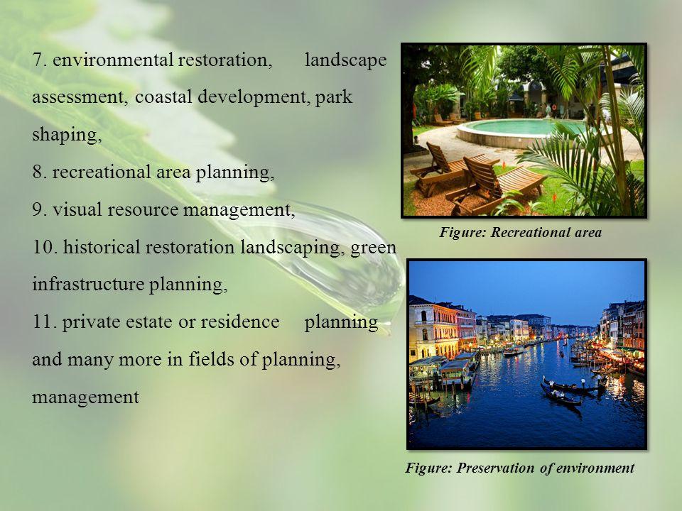 7. environmental restoration, landscape assessment, coastal development, park shaping, 8. recreational area planning, 9. visual resource management, 1