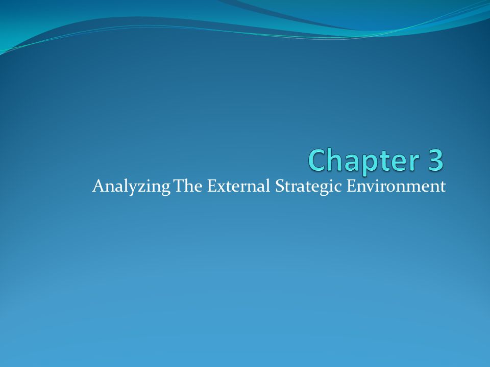 Analyzing The External Strategic Environment