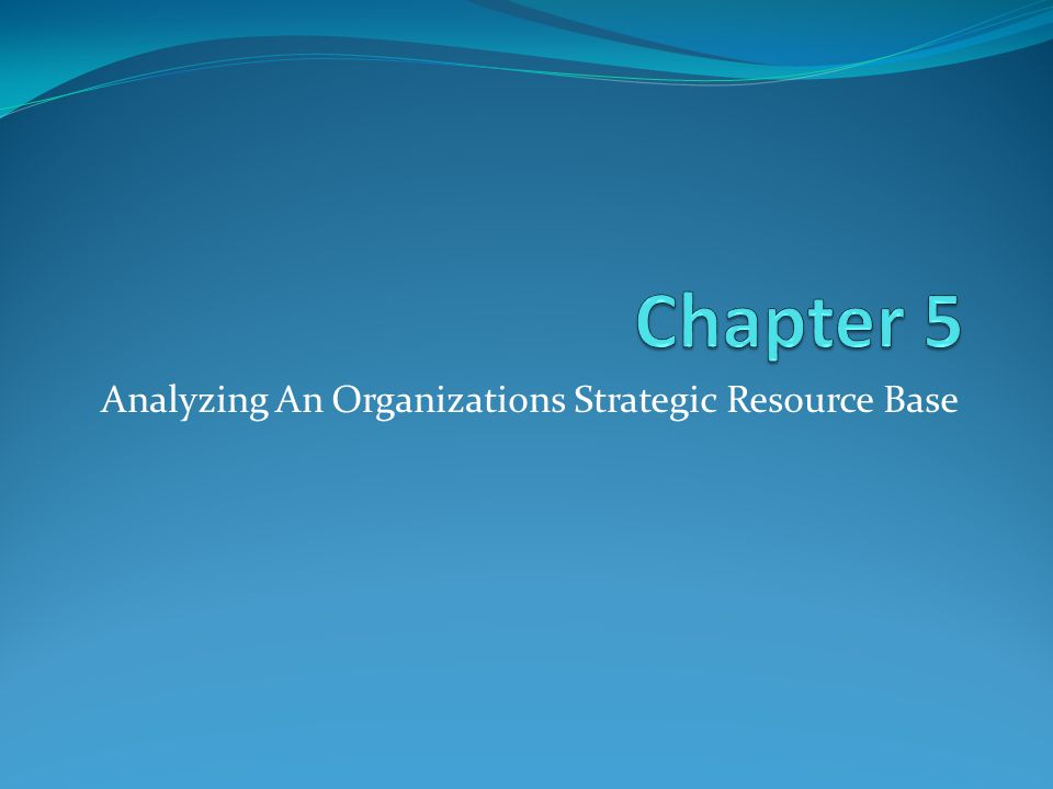 Analyzing An Organizations Strategic Resource Base