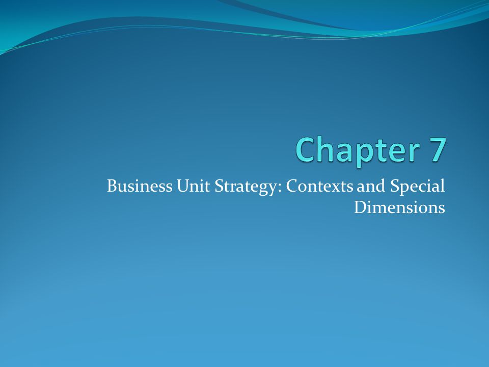 Business Unit Strategy: Contexts and Special Dimensions