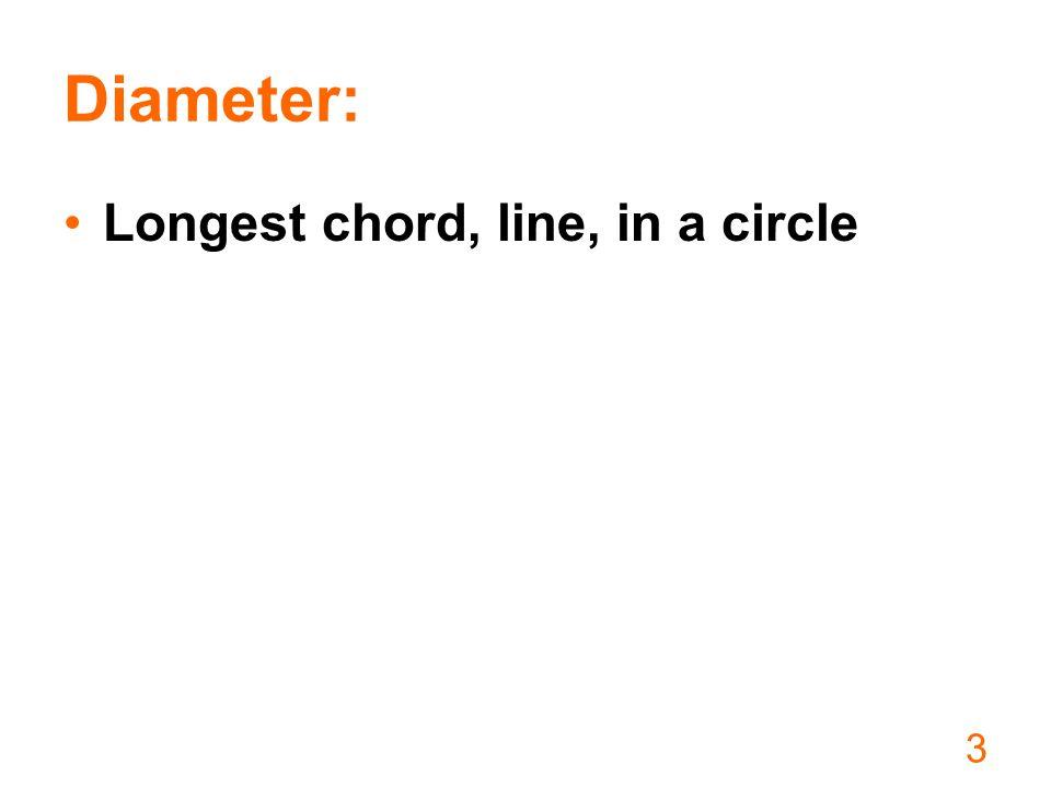 Diameter: Longest chord, line, in a circle 3