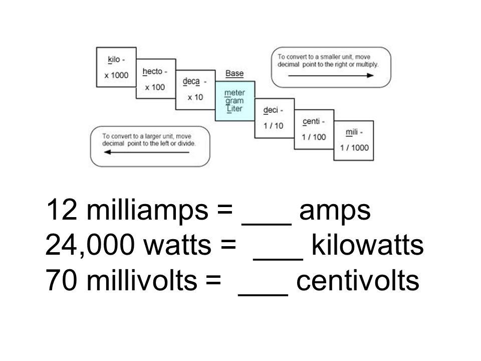 12 milliamps = ___ amps 24,000 watts = ___ kilowatts 70 millivolts = ___ centivolts