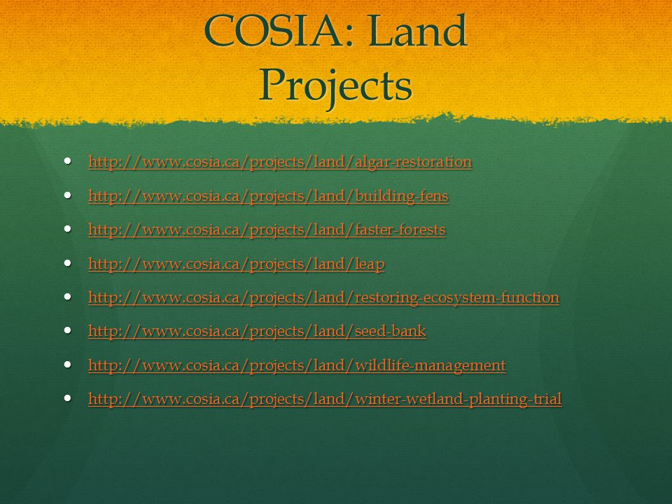COSIA: Land Projects http://www.cosia.ca/projects/land/algar-restoration http://www.cosia.ca/projects/land/algar-restoration http://www.cosia.ca/proje