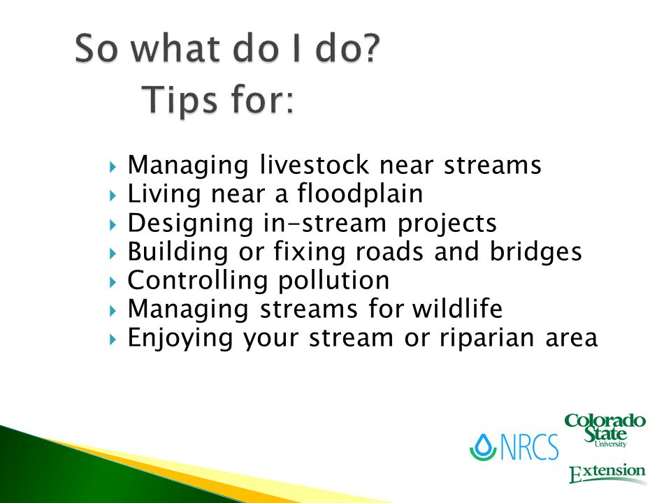  Managing livestock near streams  Living near a floodplain  Designing in-stream projects  Building or fixing roads and bridges  Controlling pollution  Managing streams for wildlife  Enjoying your stream or riparian area