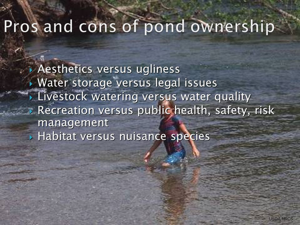  Aesthetics versus ugliness  Water storage versus legal issues  Livestock watering versus water quality  Recreation versus public health, safety, risk management  Habitat versus nuisance species USDA NRCS