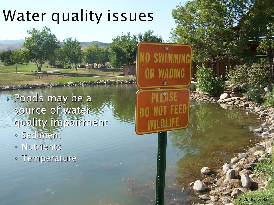  Ponds may be a source of water quality impairment ◦ Sediment ◦ Nutrients ◦ Temperature UNCE, Reno, Nev.