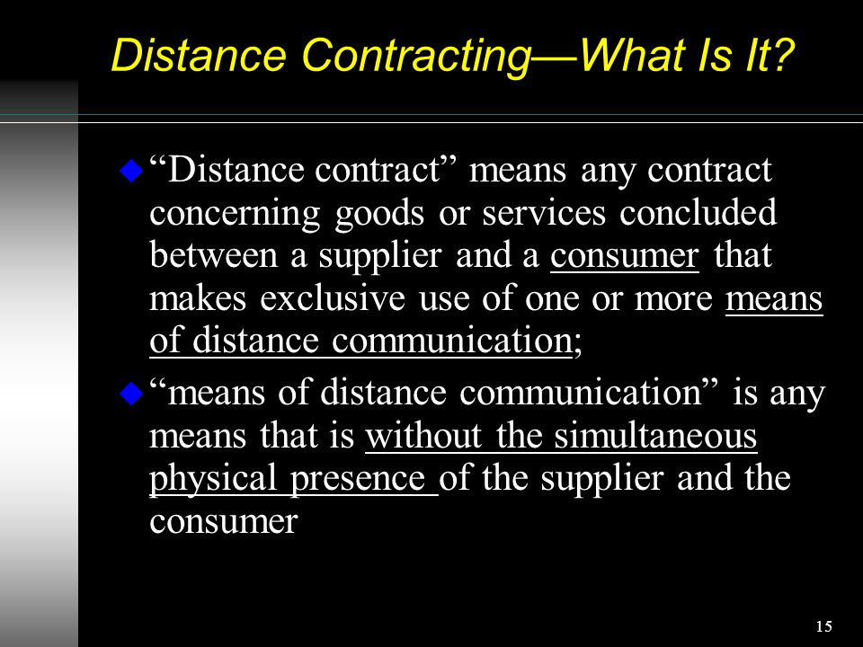 15 Distance Contracting—What Is It.