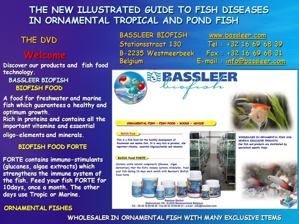 THE NEW ILLUSTRATED GUIDE TO FISH DISEASES IN ORNAMENTAL TROPICAL AND POND FISH Welcome THE DVD Discover our products and fish food technology. BASSLE