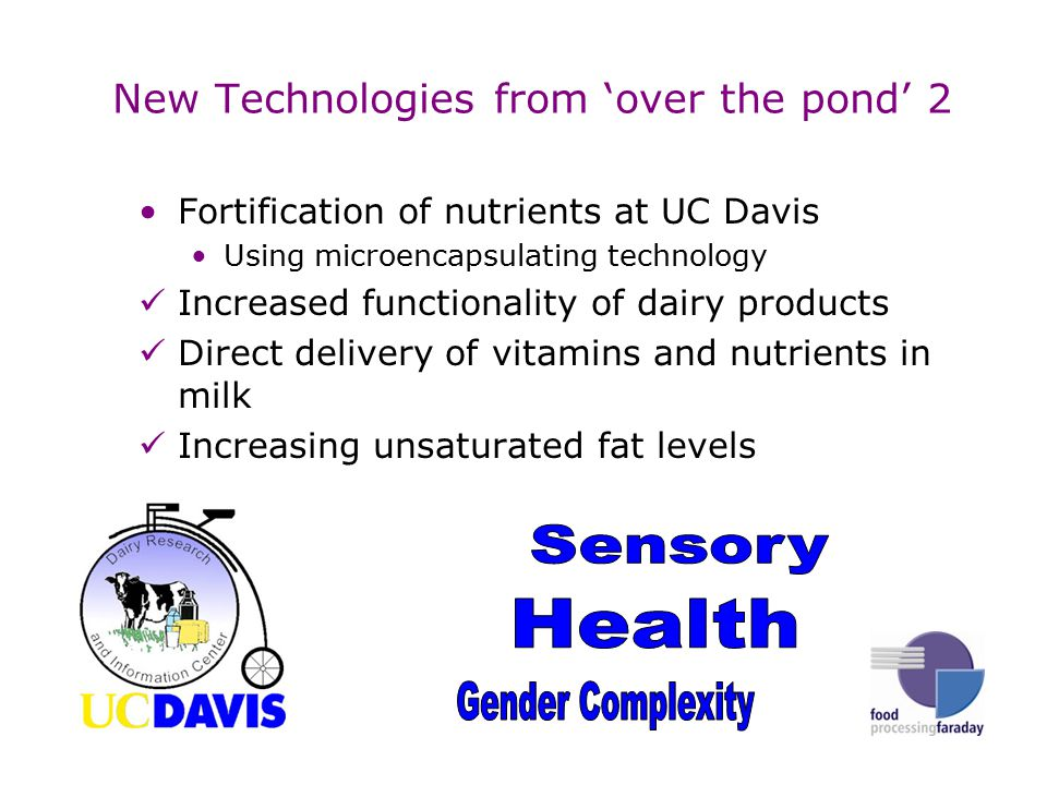 New Technologies from 'over the pond' 2 Fortification of nutrients at UC Davis Using microencapsulating technology Increased functionality of dairy products Direct delivery of vitamins and nutrients in milk Increasing unsaturated fat levels