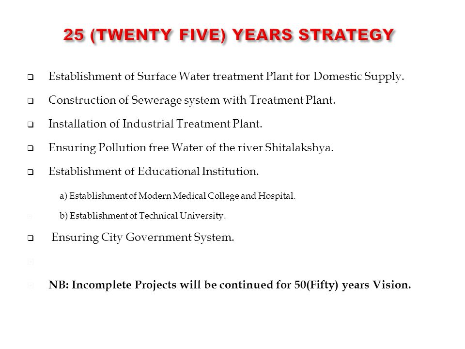  Establishment of Surface Water treatment Plant for Domestic Supply.