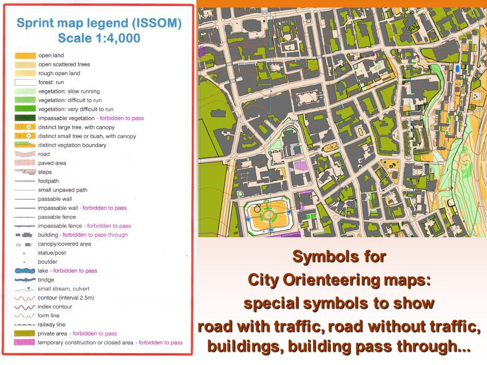 Symbols for City Orienteering maps: special symbols to show road with traffic, road without traffic, buildings, building pass through...