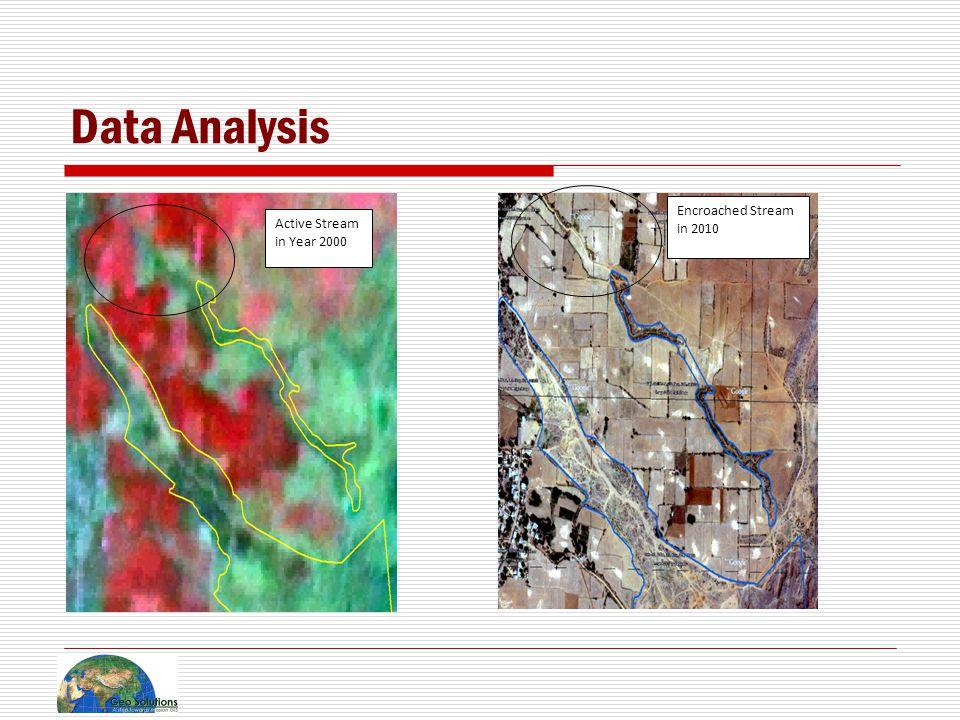 Data Analysis Active Stream in Year 2000 Encroached Stream in 2010