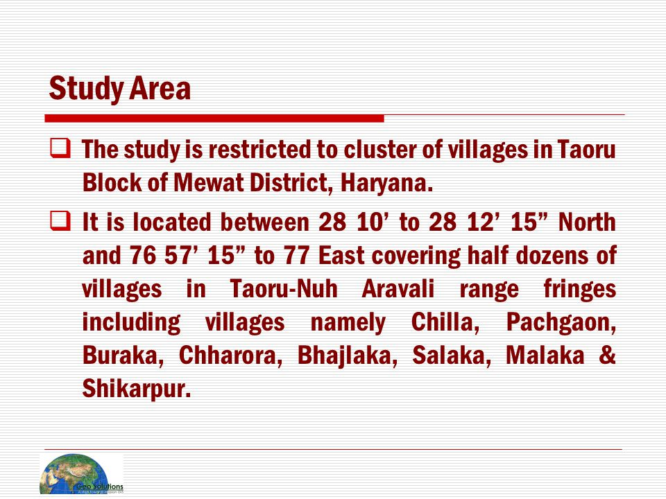 Location Map of Study Area India Haryana Mewat