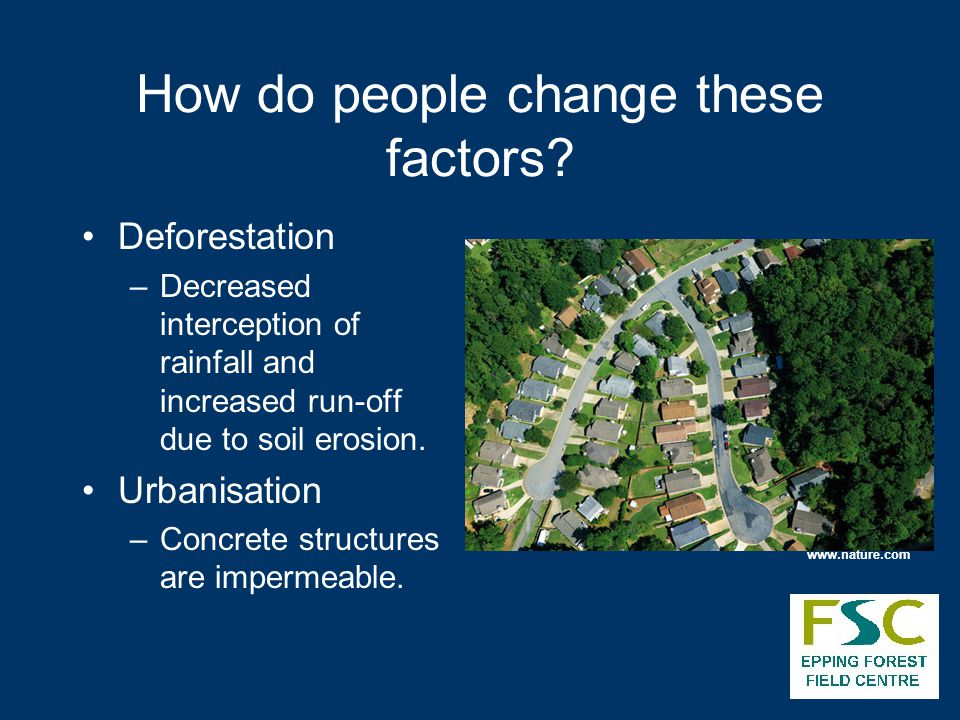 How do people change these factors? Deforestation –Decreased interception of rainfall and increased run-off due to soil erosion. Urbanisation –Concret