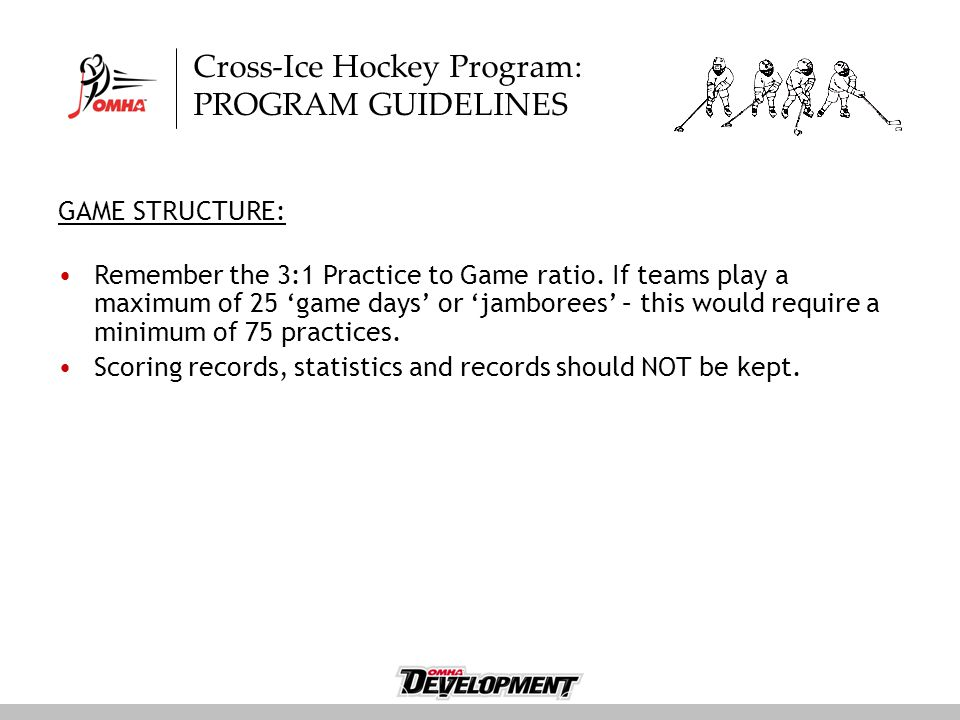 Cross-Ice Hockey Program: PROGRAM GUIDELINES GAME STRUCTURE: Remember the 3:1 Practice to Game ratio.